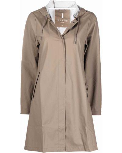 Brązowy płaszcz z kapturem Rains