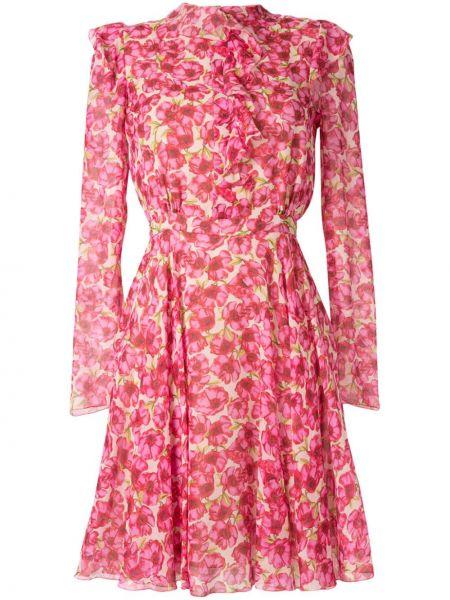 Розовое расклешенное платье с длинными рукавами с вырезом Giambattista Valli