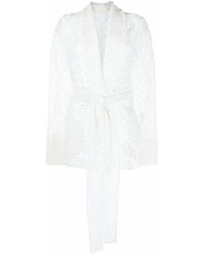 Прямой белый удлиненный пиджак с поясом Sara Battaglia