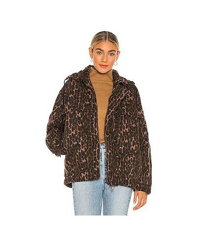 Хлопковая коричневая куртка на молнии One Teaspoon