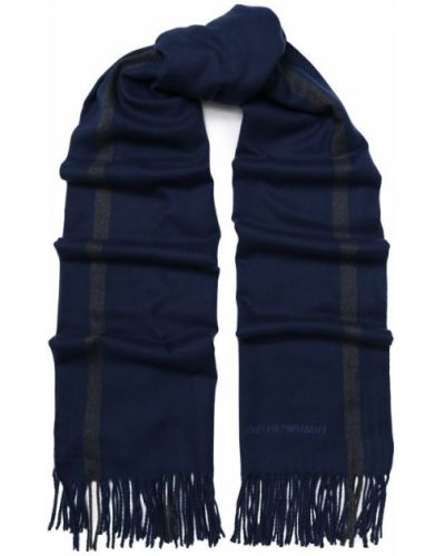 Синий шарф с бахромой Emporio Armani