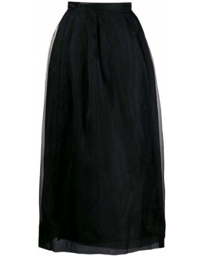Черная юбка миди в рубчик Le Cord