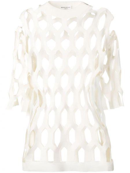 Biały sweter z siateczką Sonia Rykiel