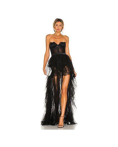 Шелковое черное вечернее платье с открытыми плечами For Love & Lemons