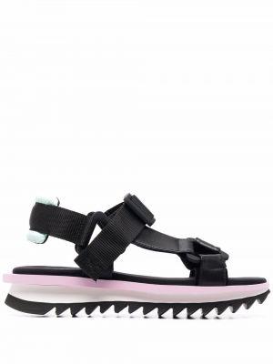 Открытые черные кожаные сандалии Grey Mer
