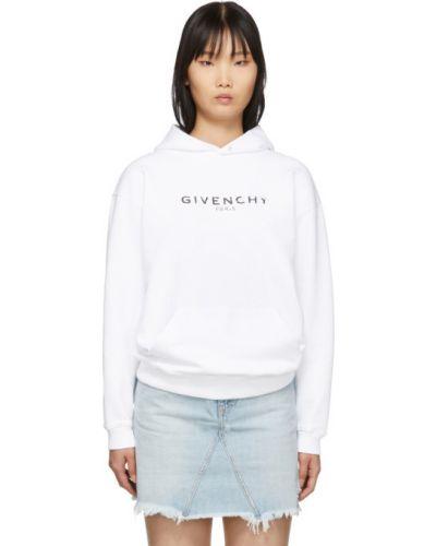 Z rękawami frotte biały bluza z kapturem z kieszeniami Givenchy