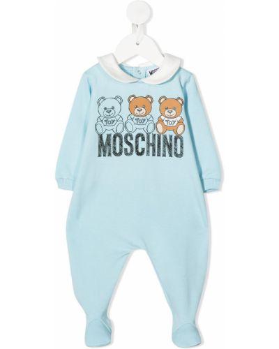 Синее с рукавами хлопковое боди с вырезом Moschino Kids