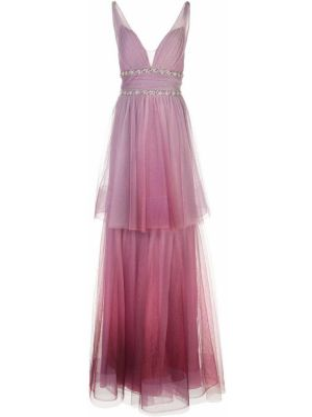Фиолетовое платье прозрачное с V-образным вырезом на молнии Marchesa Notte