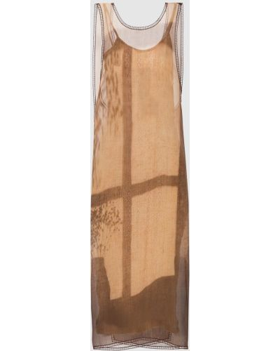 Бежевое шелковое платье миди Fendi