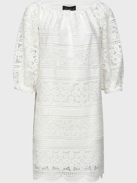 Хлопковое белое платье с подкладкой Luisa Spagnoli