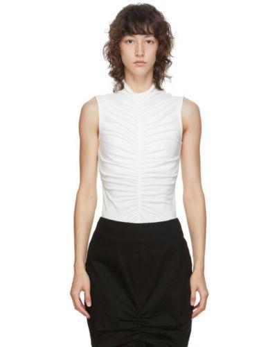 Biały bawełna koszula z kołnierzem bez rękawów Edit