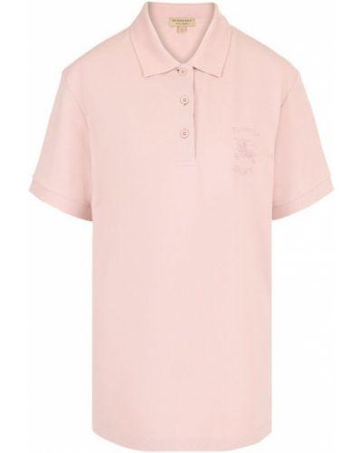 Розовое поло с логотипом Burberry