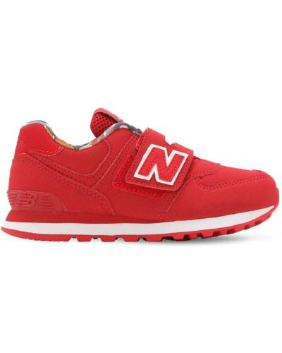 С ремешком красные кожаные кроссовки New Balance