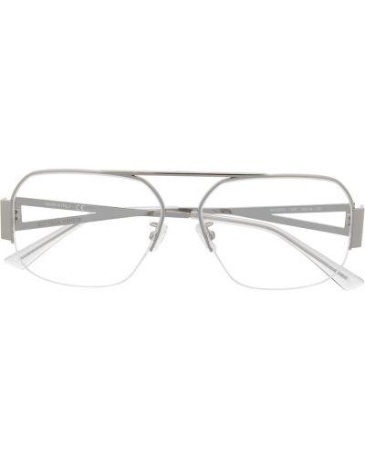 Серебряные очки металлические прозрачные Bottega Veneta Eyewear