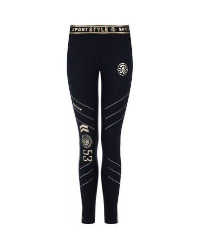 Трикотажные синие спортивные брюки с поясом Sportalm