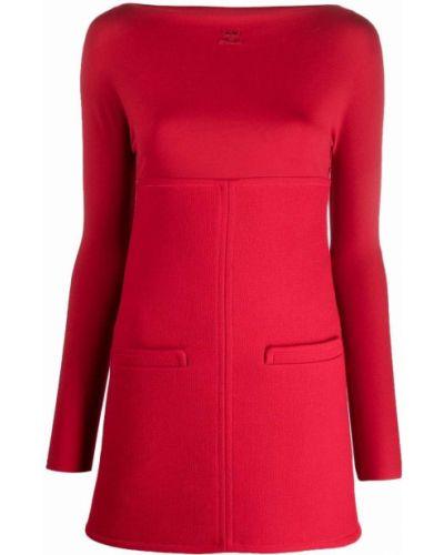 Платье макси с длинными рукавами - красное Courrèges