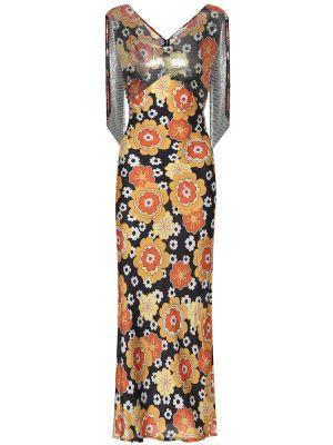 Платье с цветочным принтом каскадное Paco Rabanne