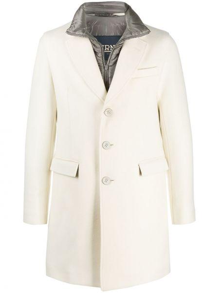 Z rękawami wełniany długi płaszcz z klapą z kieszeniami Herno