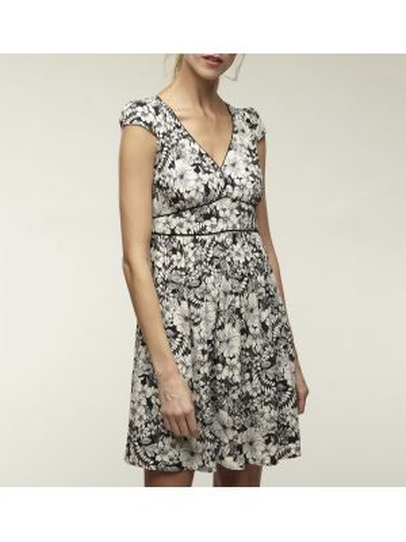 Платье мини с цветочным принтом с V-образным вырезом Naf Naf