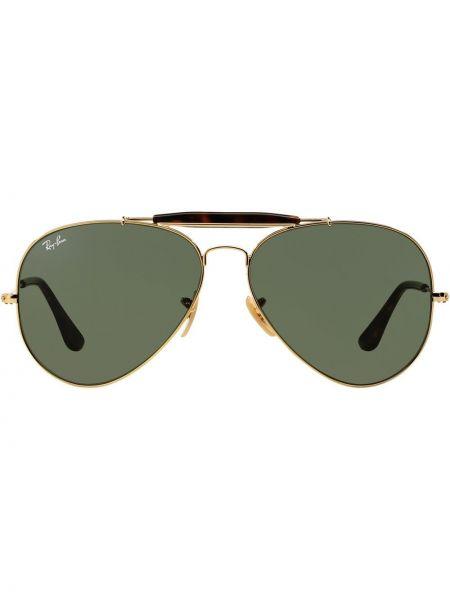 Золотистые желтые солнцезащитные очки металлические Ray-ban