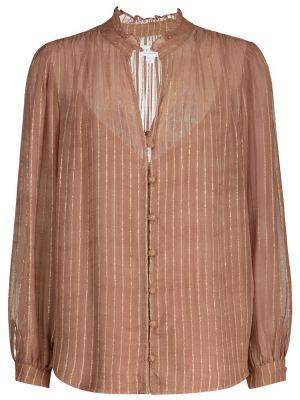 Różowa bluzka w paski z wiskozy Velvet
