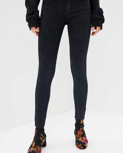 Черные джинсы-скинни с пайетками Kiss Pink