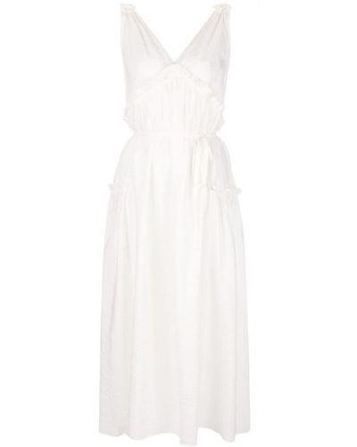 Платье миди с V-образным вырезом - белое Isa Arfen