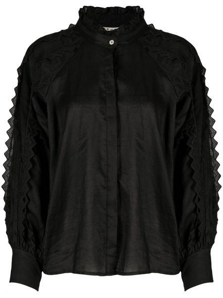Черная рубашка с манжетами с воротником на пуговицах Sea