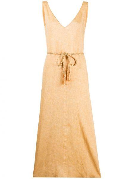 Платье с поясом с V-образным вырезом с рукавами Forte Forte
