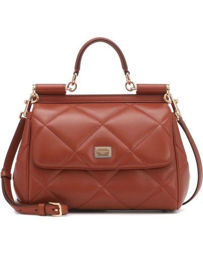 Коричневая стеганая кожаная сумка с бриллиантом из натуральной кожи Dolce & Gabbana