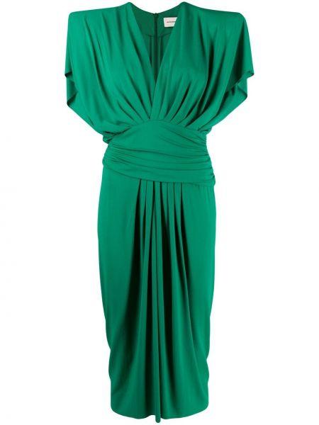 Zielona sukienka midi z wiskozy krótki rękaw Alexandre Vauthier