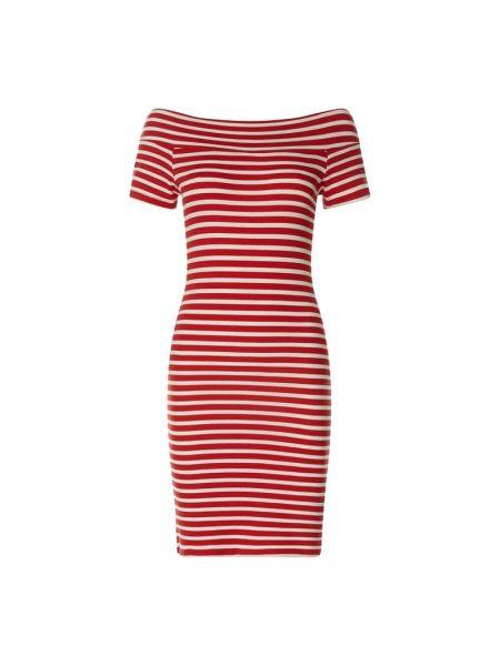 Sukienka mini w paski z odkrytymi ramionami krótki rękaw Ltb