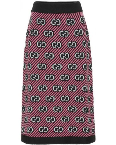 Вязаная юбка розовая серебряный Gucci