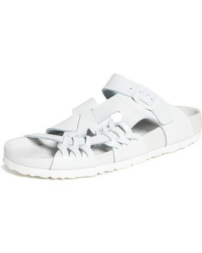 Białe sandały skorzane peep toe Birkenstock