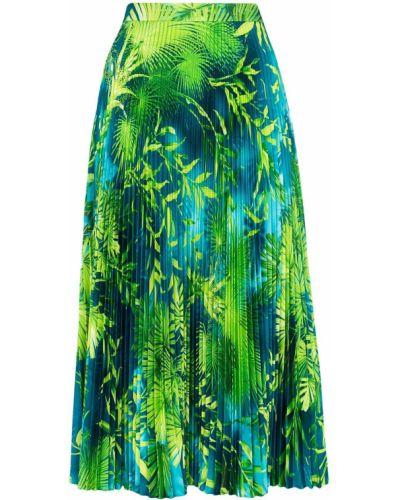 Зеленая расклешенная с завышенной талией юбка миди на молнии Versace