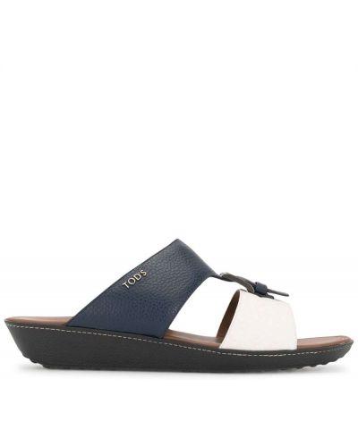 Otwarty skórzany biały sandały z klamrą Tod's