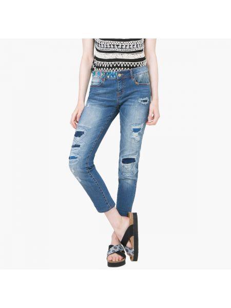 Прямые джинсы с поясом потертые Desigual