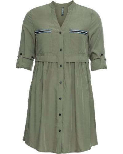 Зеленое платье-рубашка с отворотом Bonprix