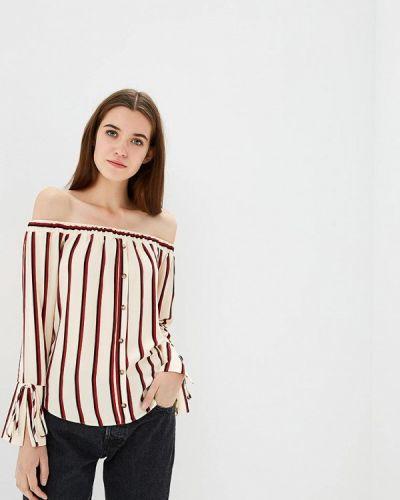 Блузка с открытыми плечами осенняя бежевый Miss Selfridge