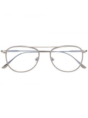 Серебряные очки авиаторы металлические Tom Ford Eyewear