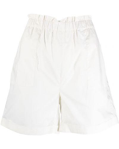 Хлопковые белые с завышенной талией шорты Woolrich