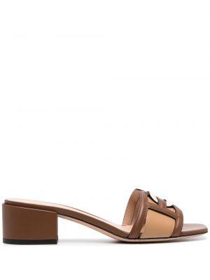 Beżowe sandały skorzane peep toe Bally
