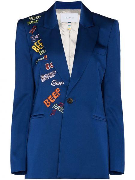 Сатиновый синий пиджак с вышивкой Mira Mikati