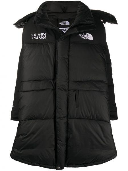 Puchaty czarny długi płaszcz z kieszeniami przeoczenie Mm6 Maison Margiela