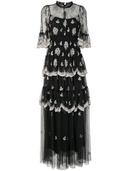 Черное платье с вышивкой с вырезом круглое Needle & Thread