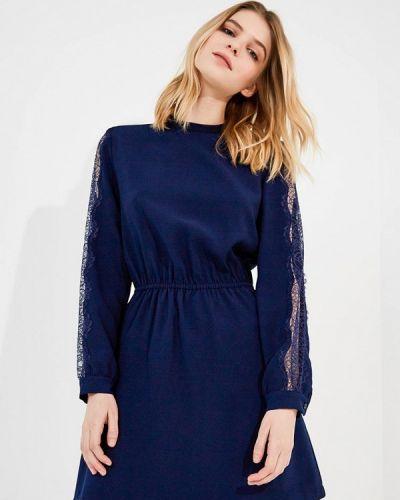 Синее платье с открытыми плечами Pinko