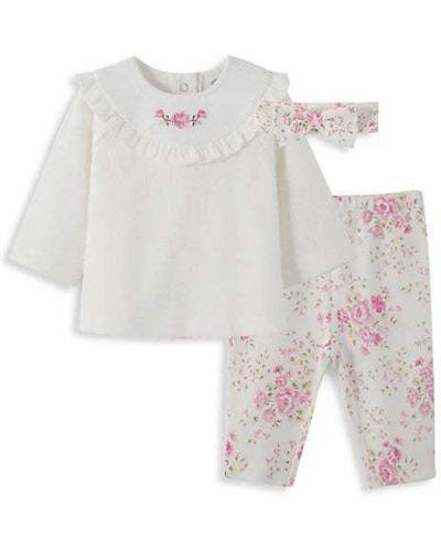 Różowe legginsy bawełniane z printem Little Me