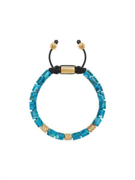 Złota bransoletka ze złota pozłacana turkusowa Nialaya Jewelry