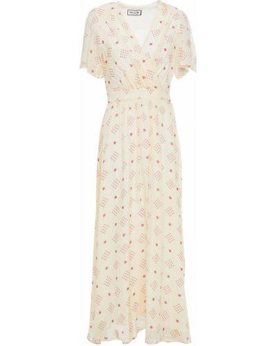 Бежевое платье миди жаккардовое с подкладкой Paul & Joe