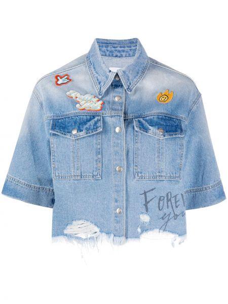 Синяя джинсовая куртка с короткими рукавами с нашивками Sjyp